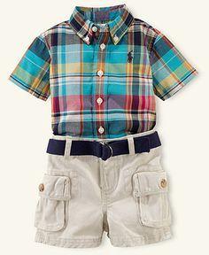 Ralph Lauren Baby Set Baby Boys Short Sleeved Plaid Shirt And Cargo