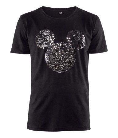5665f5760ee711 Disney T-shirt with sequined Mickey Mouse embroidery on the front, from H&M