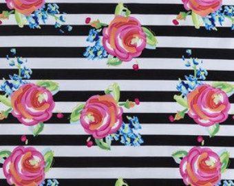 Black and white stripe fabric   Etsy