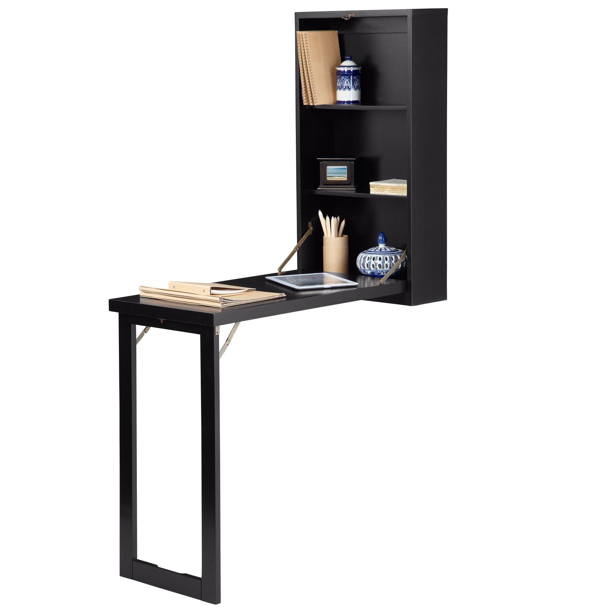 A second desk option, it folds down when needed. When