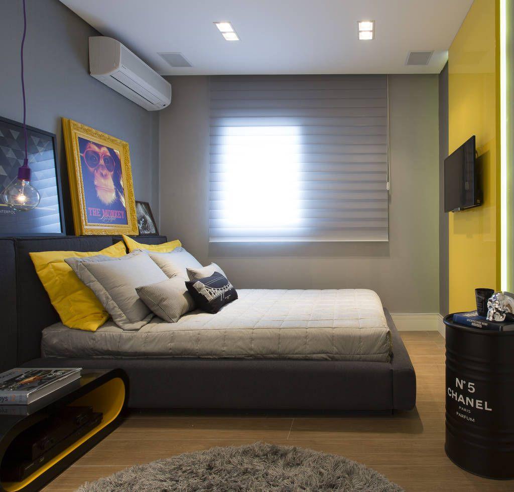 Fotos De Decora O Design De Interiores E Reformas Amarelo  ~ Lindo Quarto De Casal Com Quarto Pintado De Preto