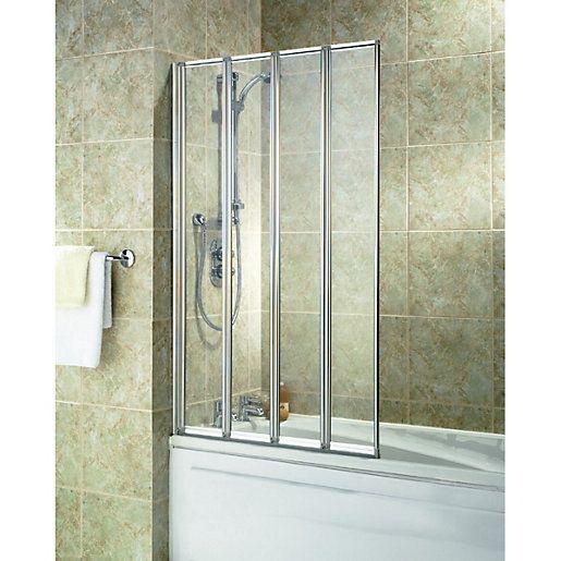 Wickes Four Fold Bath Screen Silver Effect Frame Width: 840 Mm Fitting  Type: Universal