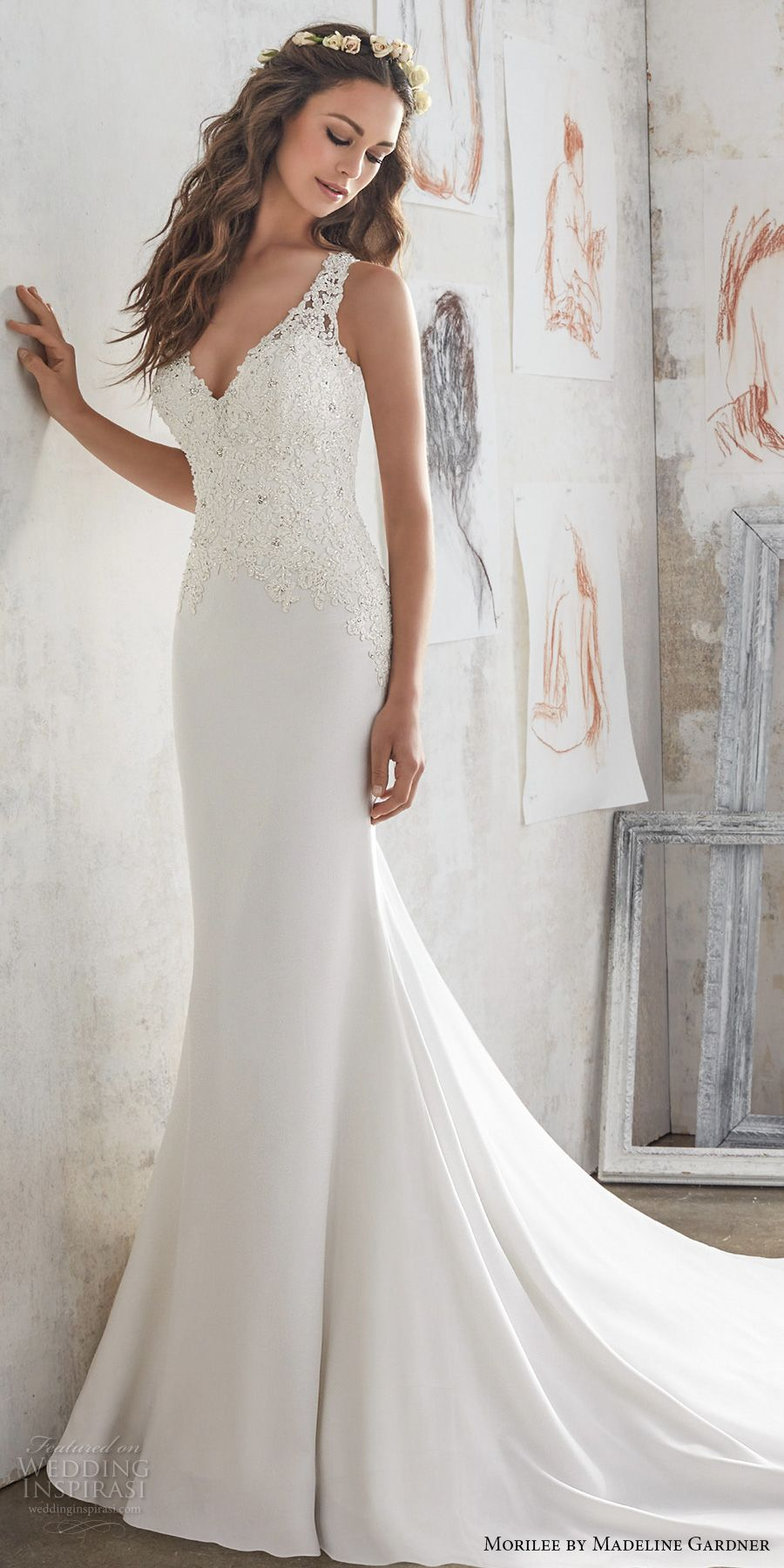 Morilee by madeline gardner spring 2017 wedding dresses blu morilee spring 2017 bridal sleeveless embroidered thick strap v neck heavily embellished bodice sheath wedding dress junglespirit Choice Image