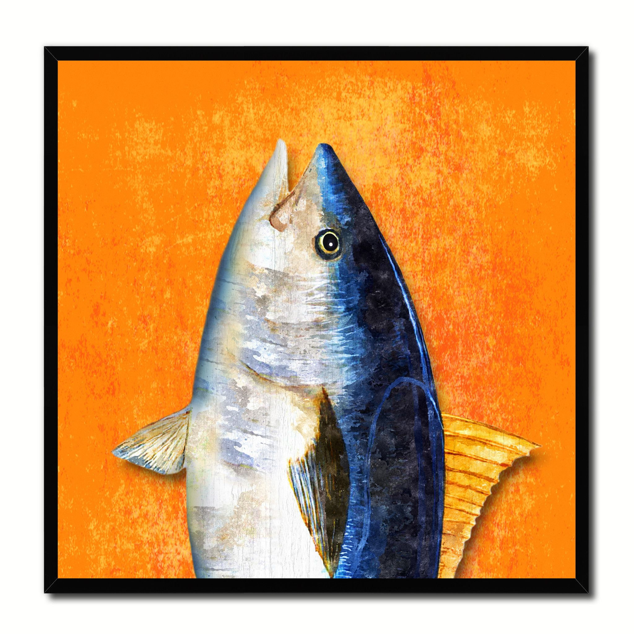 Nautical gifts for the home - Blackfin Tuna Fish Head Art Orange Canvas Print Picture Frame Wall Home Decor Nautical Fishing Gifts