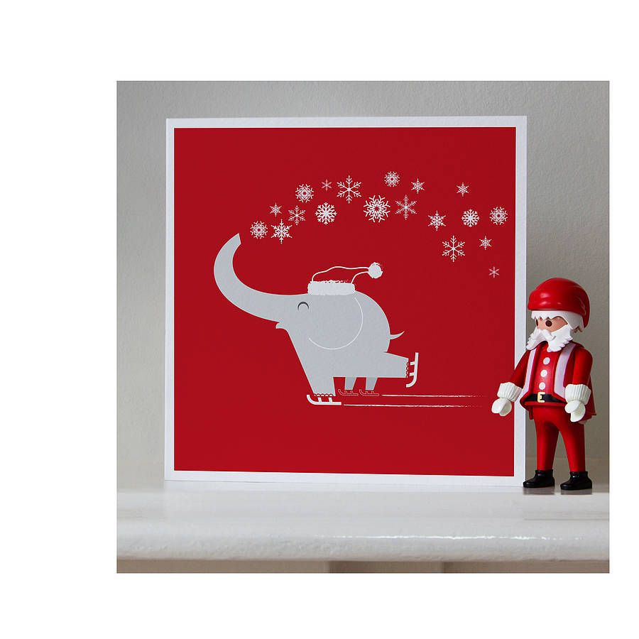 festive elephant christmas cards by ella and george ...