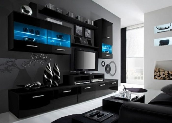 French Modern TV Wall Units with Big Cabinet and Hanging Shelves