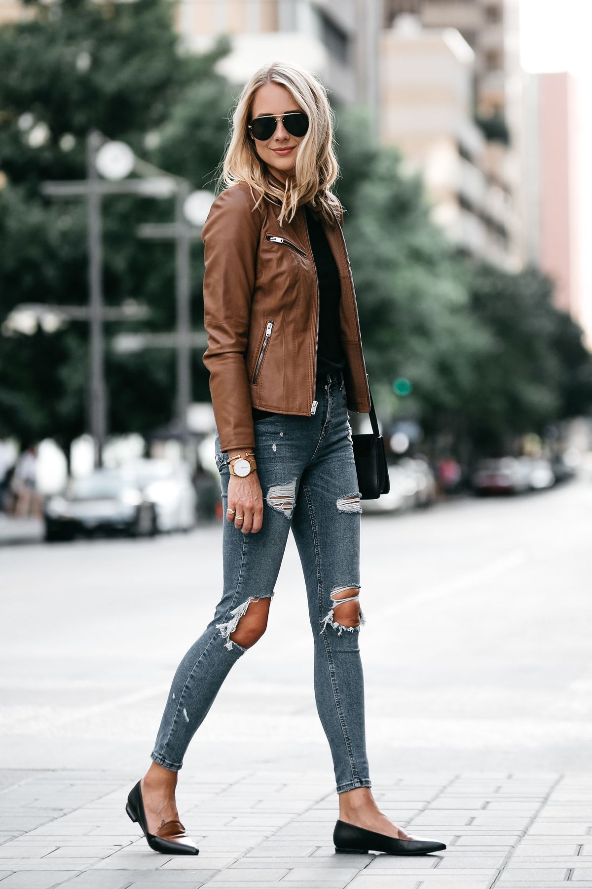 8d47569022 Blonde Woman Wearing Tan Leather Jacket Black Tshirt Denim Ripped Skinny  Jeans Outfit Black Tan Loafers Chloe Faye Handbag Fashion Jackson Dallas  Blogger ...