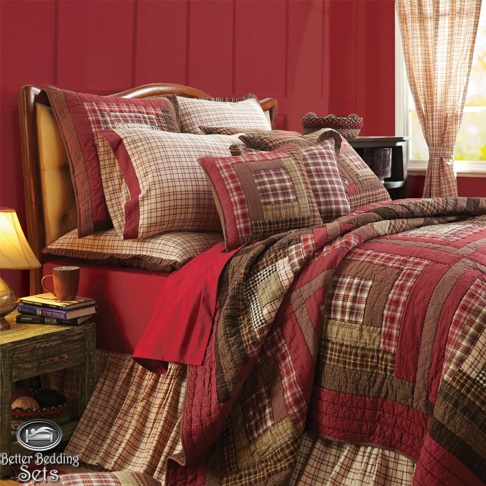 Country Rustic Red Log Cabin Twin Queen Cal King Quilt Bedding Set ... : quilt comforter sets queen - Adamdwight.com