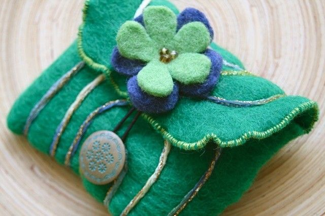 Handmade Recycled Emerald Green Wool Pouch