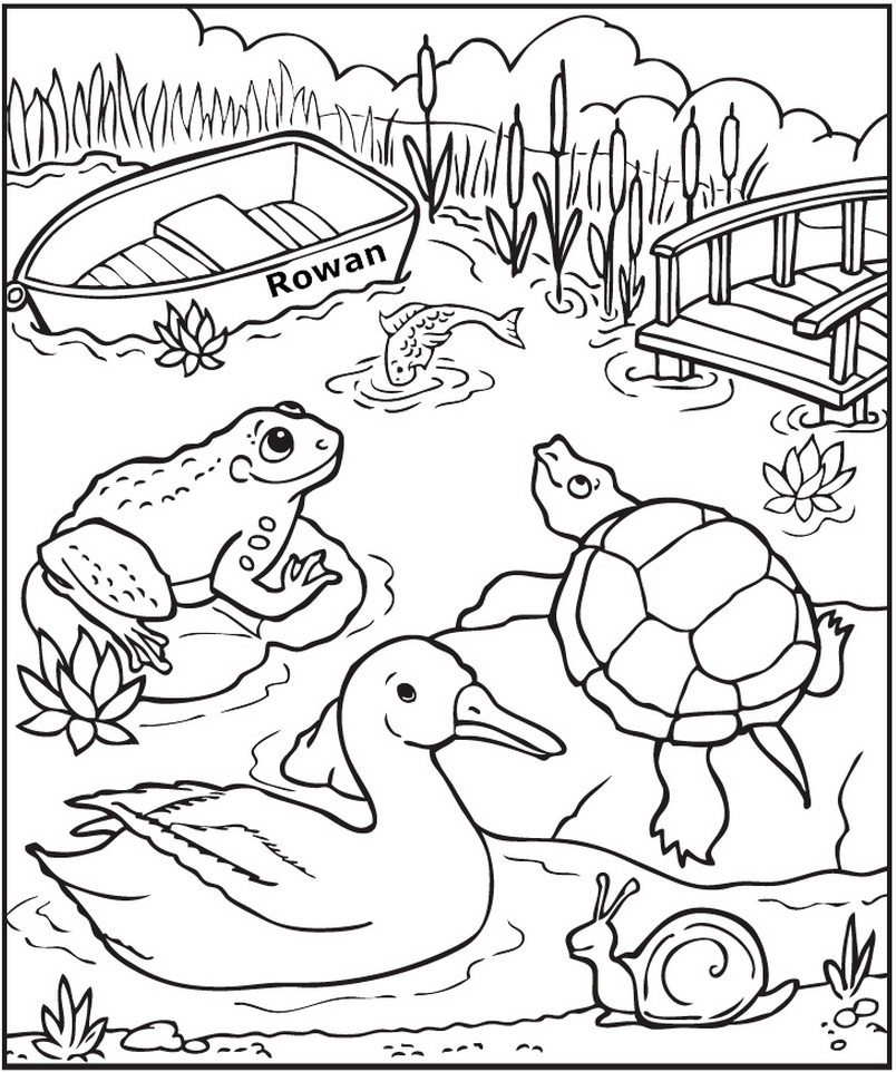 personalized down at the pond coloring page frecklebox