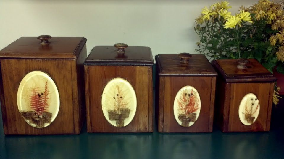 Gorgeous Vintage Dovetail Wooden Canister Set   Four Piece Kitchen Canisters.  Sold, Via Etsy