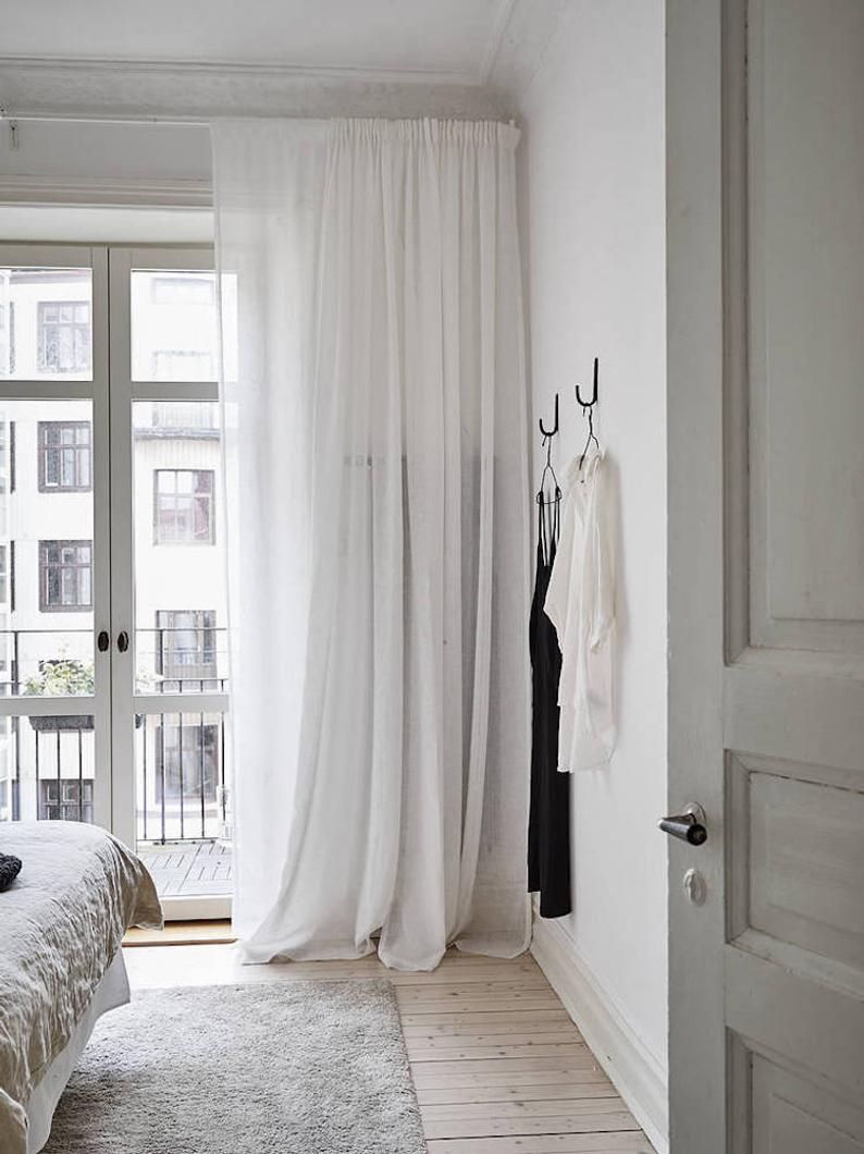 """Photo of 100% Natural White Linen curtain 52"""" – Bedroom curtain –  Pod pocket panels – Available colors – custom sizes"""