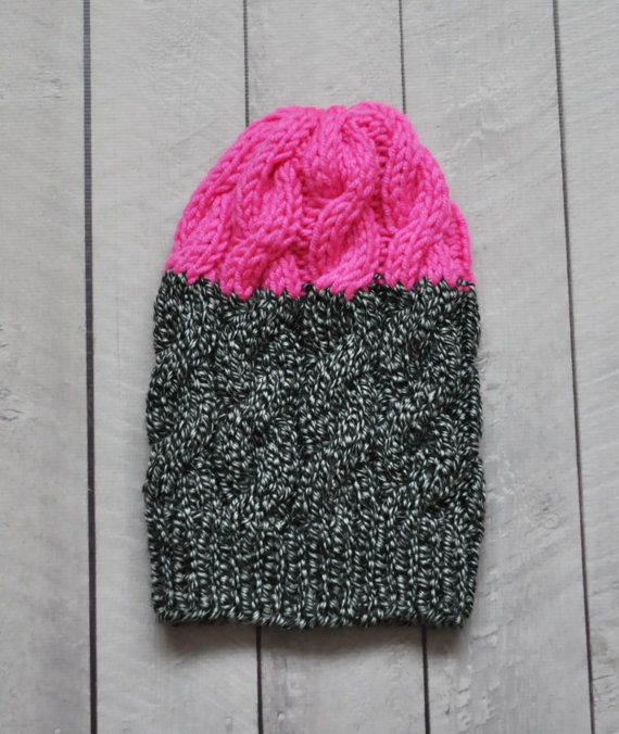 b72b9f9cdc4 Neon Pink Cable Knit Beanie Hat Chunky Knit Hat by SOVAknits