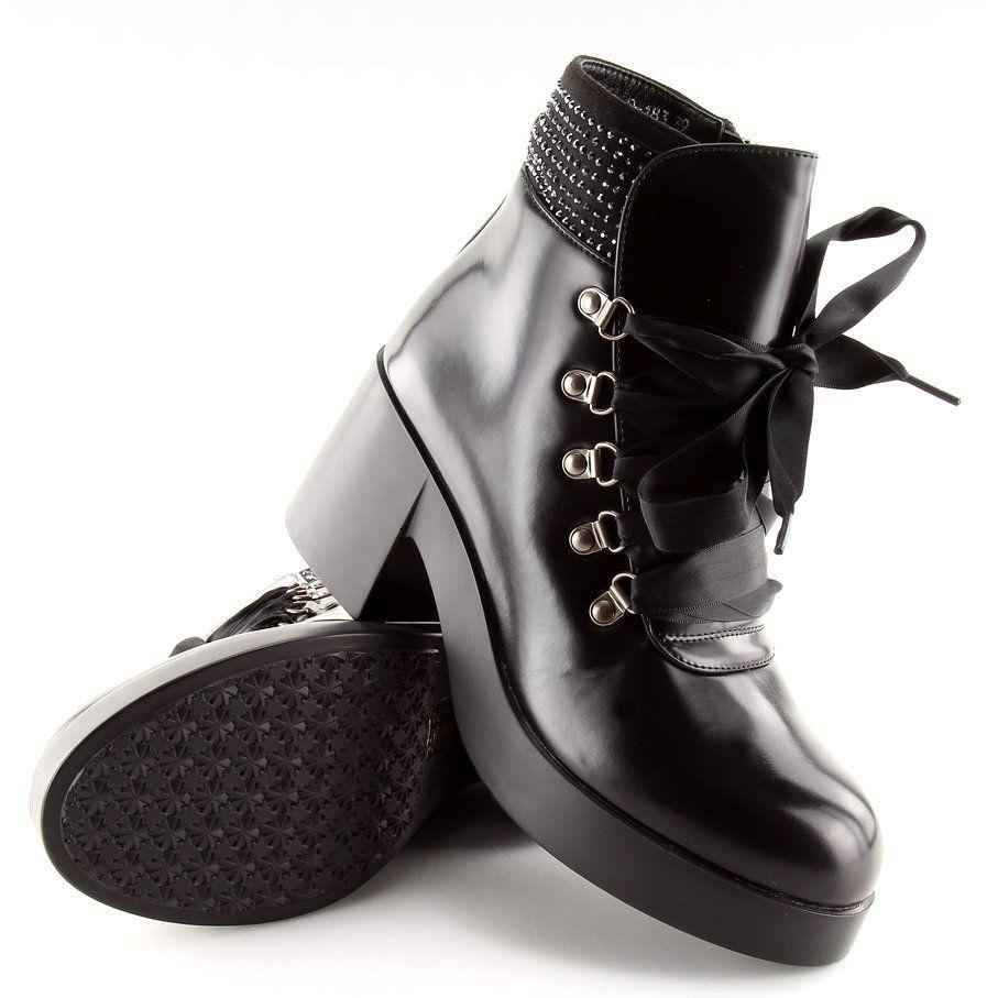 Botki Na Wysokiej Podeszwie Czarne 0 183 Biker Boot Shoes Boots