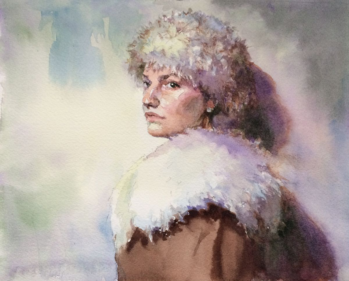 Vintage Anna Study by Vianna Szabo Watercolor ~ 8 x 10