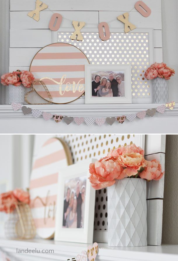 Pretty Valentine's Day decor idea for your mantel! Pink and gold and focused on the family. So beautiful and perfect for Valentine's Day! #ValentinesDecor   #ValentinesMantel