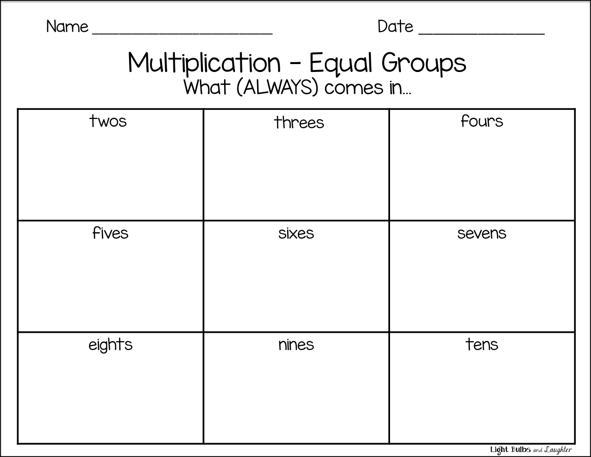 Worksheets Equal Groups Multiplication Worksheets multiplication equal groups light bulbs and laughter blog math blog