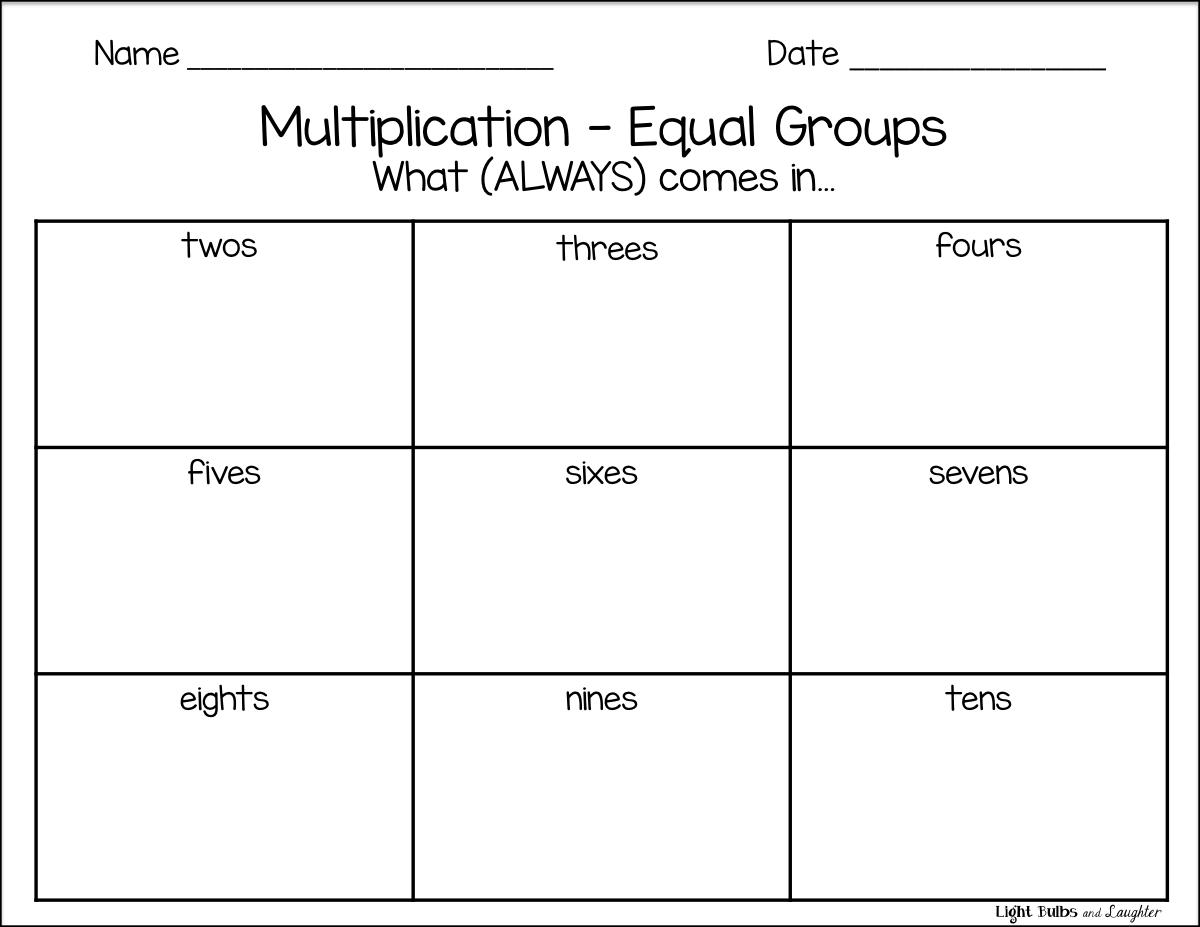 Worksheets Equal Groups Multiplication Worksheets multiplication equal groups light bulbs and laughter blog math blog