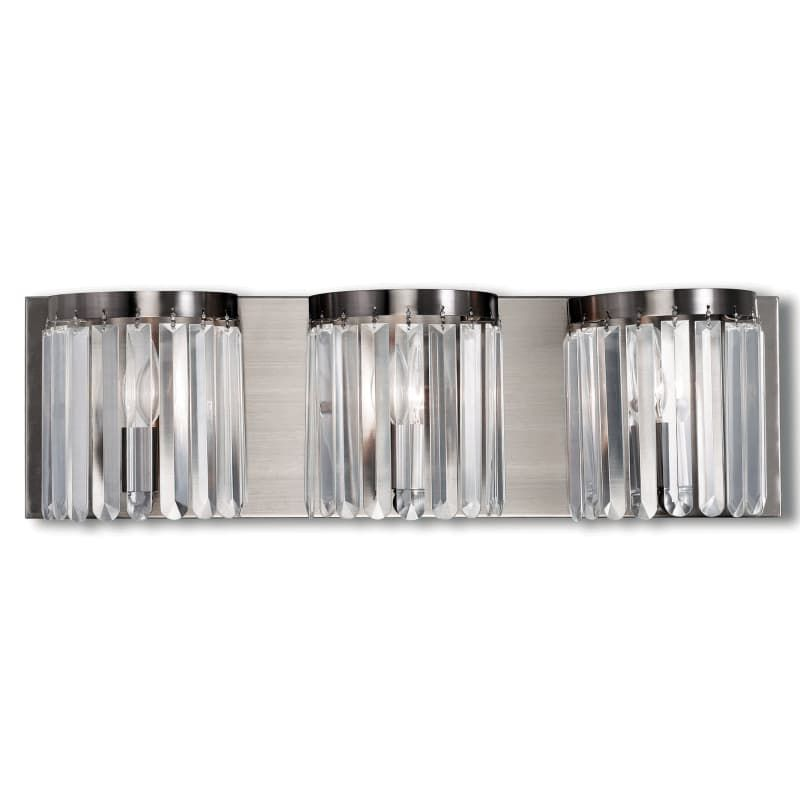 Photo of Livex Lighting 50533 Ashton 3 Light washbasin lamp with diffusers made of clear crystal Brushed nickel Interior lighting Bathroom lamps Washbasin lamp