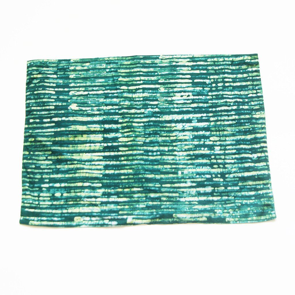 SALE:  Cotton Cloth Handprinted Placemat- Green Stripe Pattern- Set of 4 - RUNNER- Rustic Loom #rusticloom