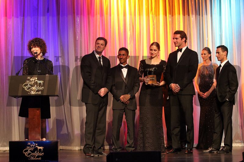Maria Niarchos and connections of Main Sequence accept Champion Older Male at the Eclipse Awards. photosbyz.com