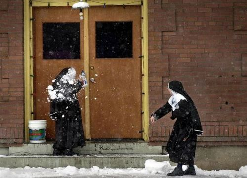 Nun snowball fight