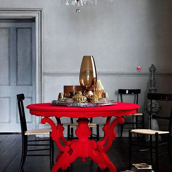 Grey Dining Room With Bold Red Table Decorating Ideal Home Red Furniture Decor Dining Room Decor