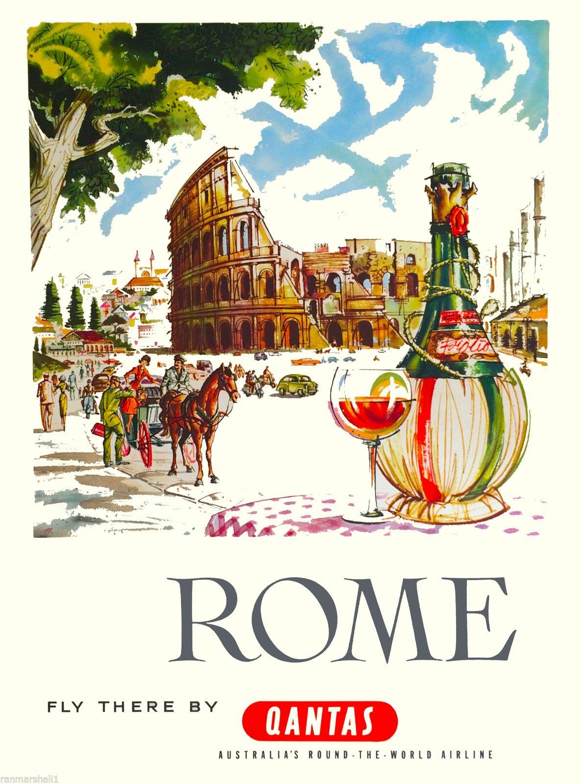 American Vinyl Vintage Art Colosseum in Rome Italy Sticker Visit Italian ca Old