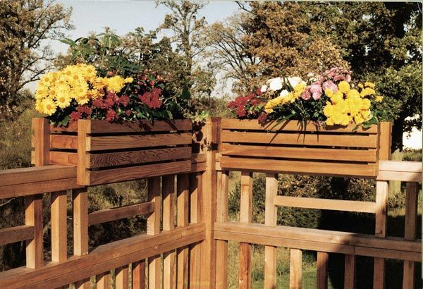 Deckrail garden planter frames is part of garden Planters Decking - You know those unappealing plastic planter boxes they sell at your local nursery or home center  Now, you can dress them up with these handsome 'rail riders ' The elegance they add to your deck will surprise you, especially considering the small amount of work that goes into them