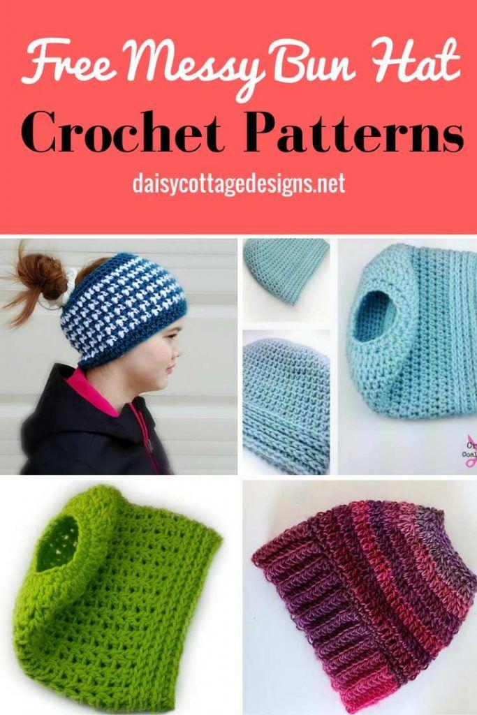 Messy Bun Crochet Hat Patterns   Mütze, Stricken und Knüpfen