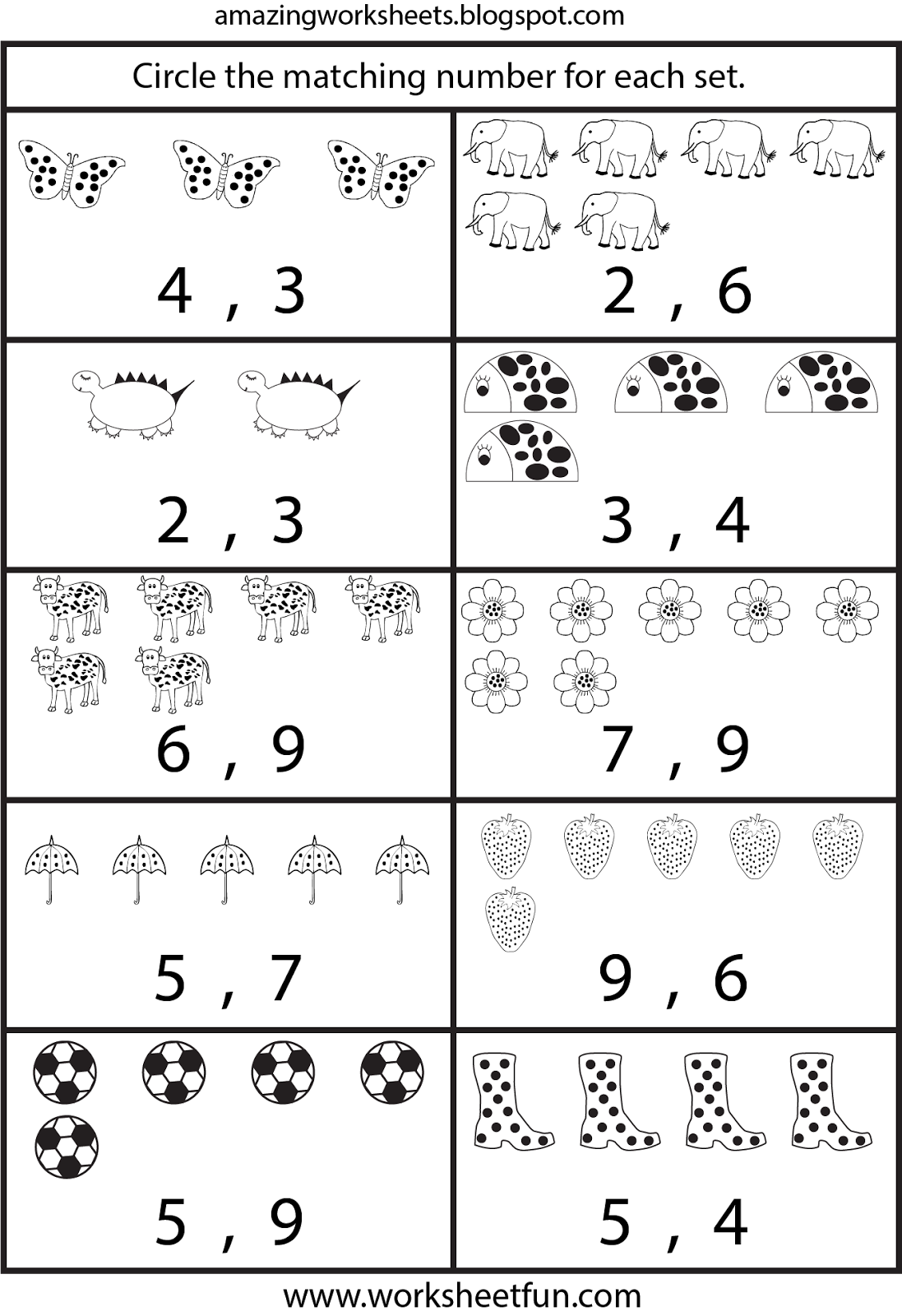 Free Printable Worksheets Counting Worksheets For Kindergarten