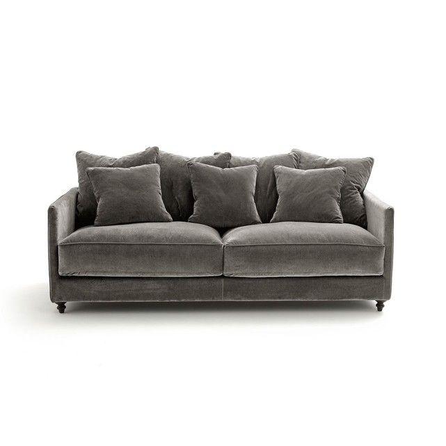 Canape Convertible 3 4 Places Lazare Velours Minimalist Sofa Snug Room Furniture