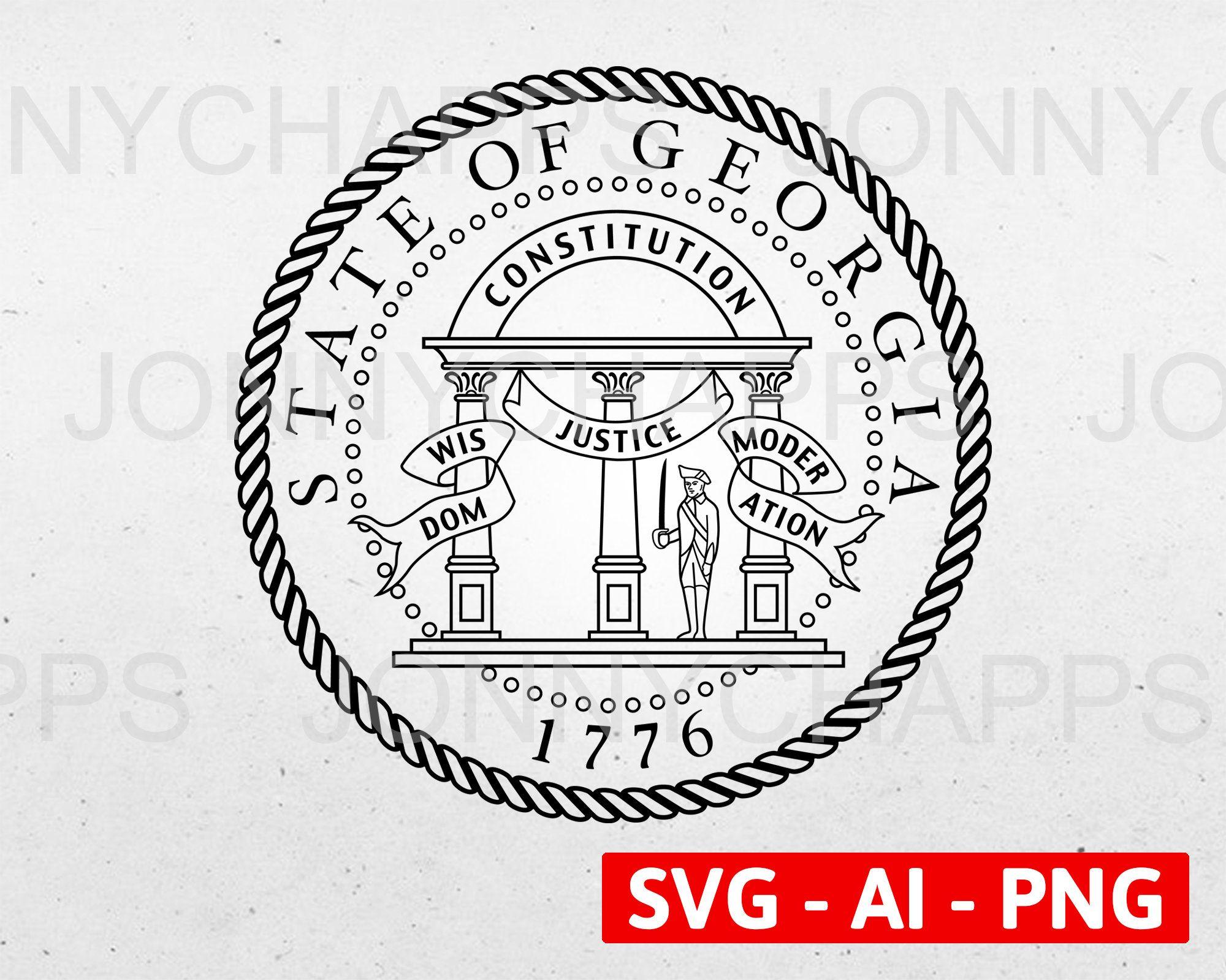 Georgia Ga State Seal Logo Digital Vector Ai Svg Png Etsy Seal Logo Svg Digital