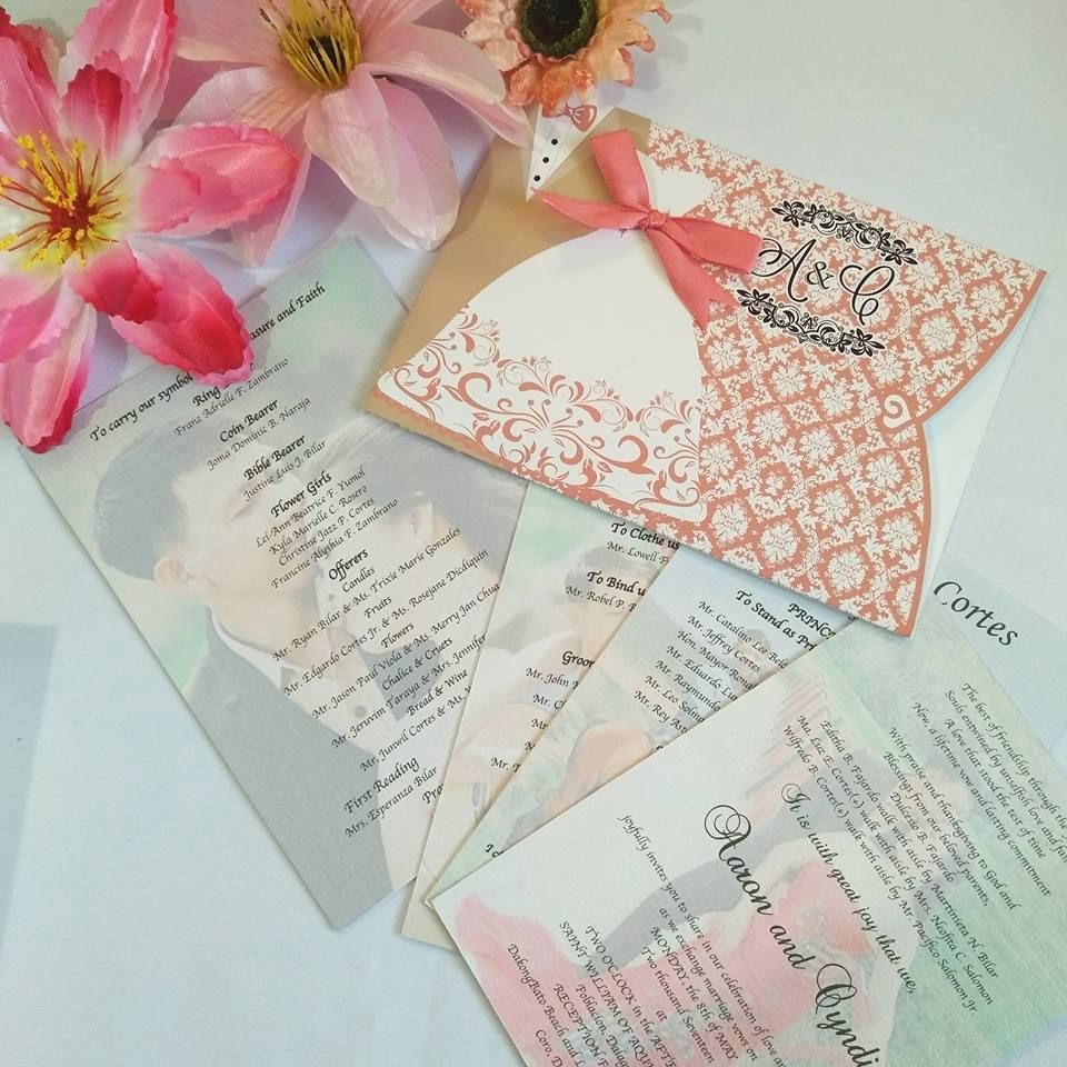 60a0dc89450f GROOM   BRIDE WEDDING INVITATION PEACH COLOR Early Reservation Discounted  Rate P 99.00 Regular Rate P