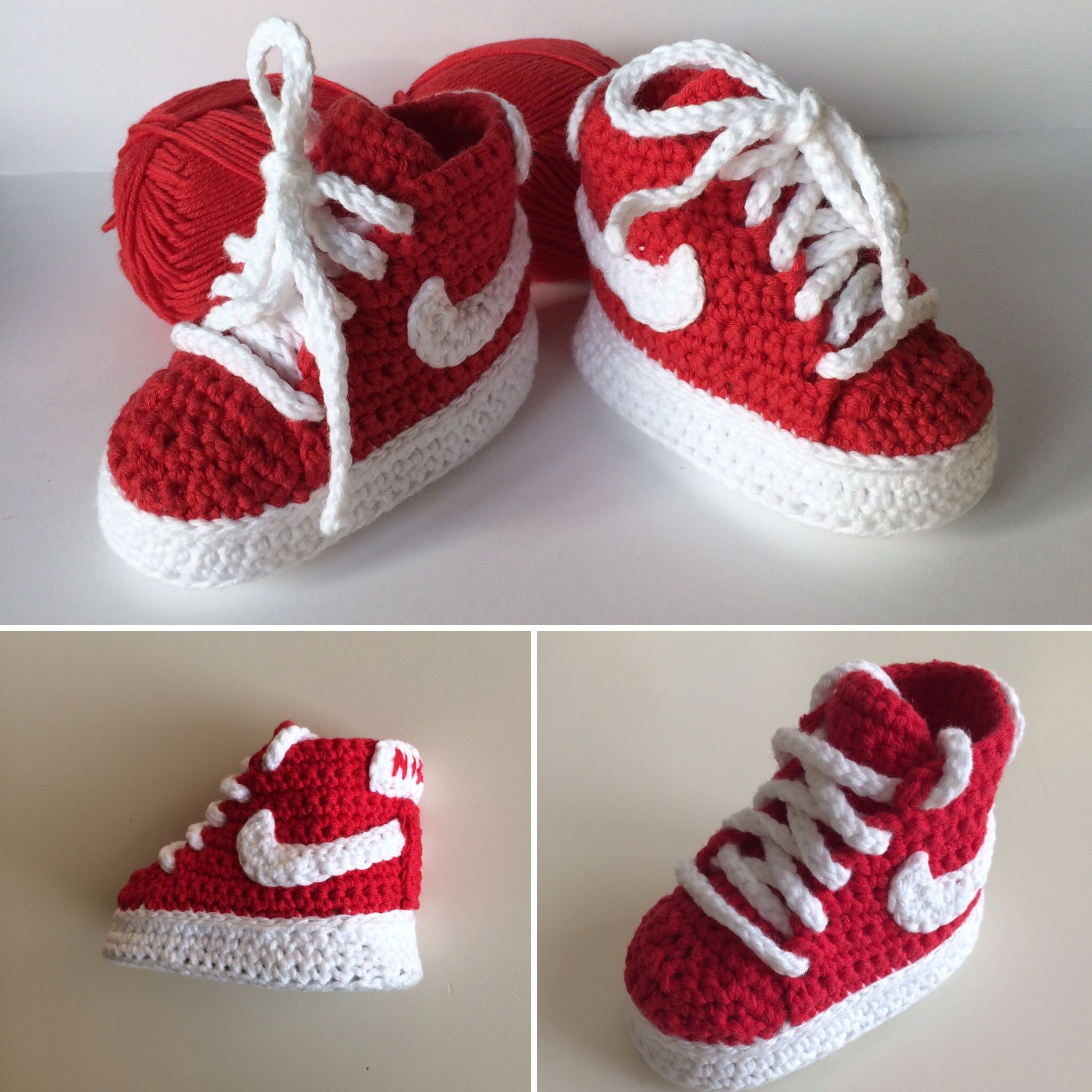 Crochet baby booties-Nike style | zapatitos | Pinterest | Crocheted ...