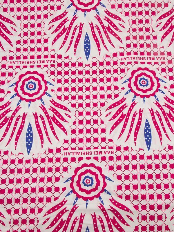 Tissu Réel Wax Imprimé Africain Motif Rouge Blanc Bleu 100% Coton