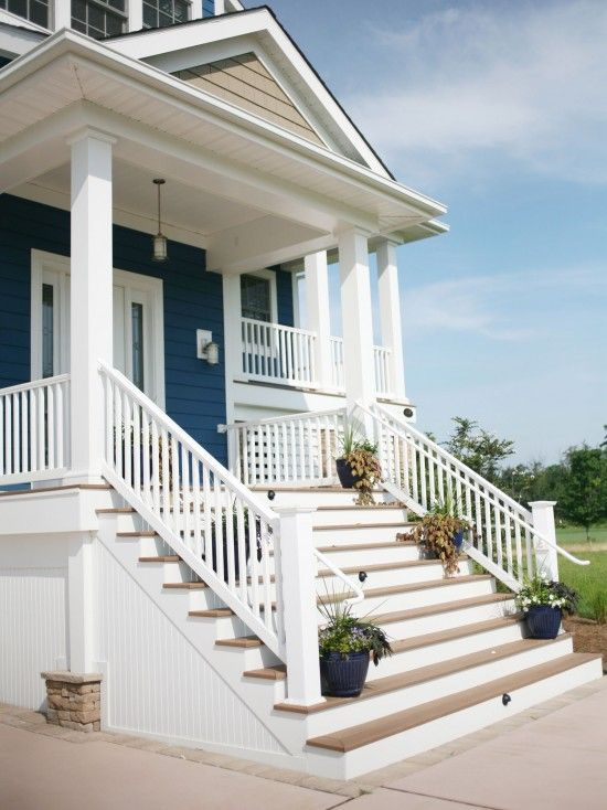 Blue Exterior Color And Porch Is Beautiful For Beach House | Staircase Design In Front Of House | Front Wall | Boundary Wall | Front Side | Indian Style | Outdoor