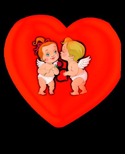 Сердце с амурчиками