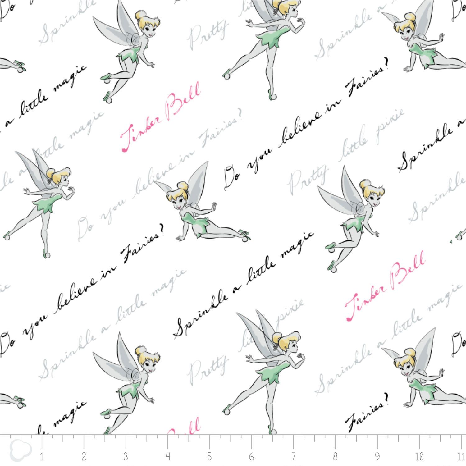 Tink Fabric / Do You Believe? In Minty / Tinkerbell on