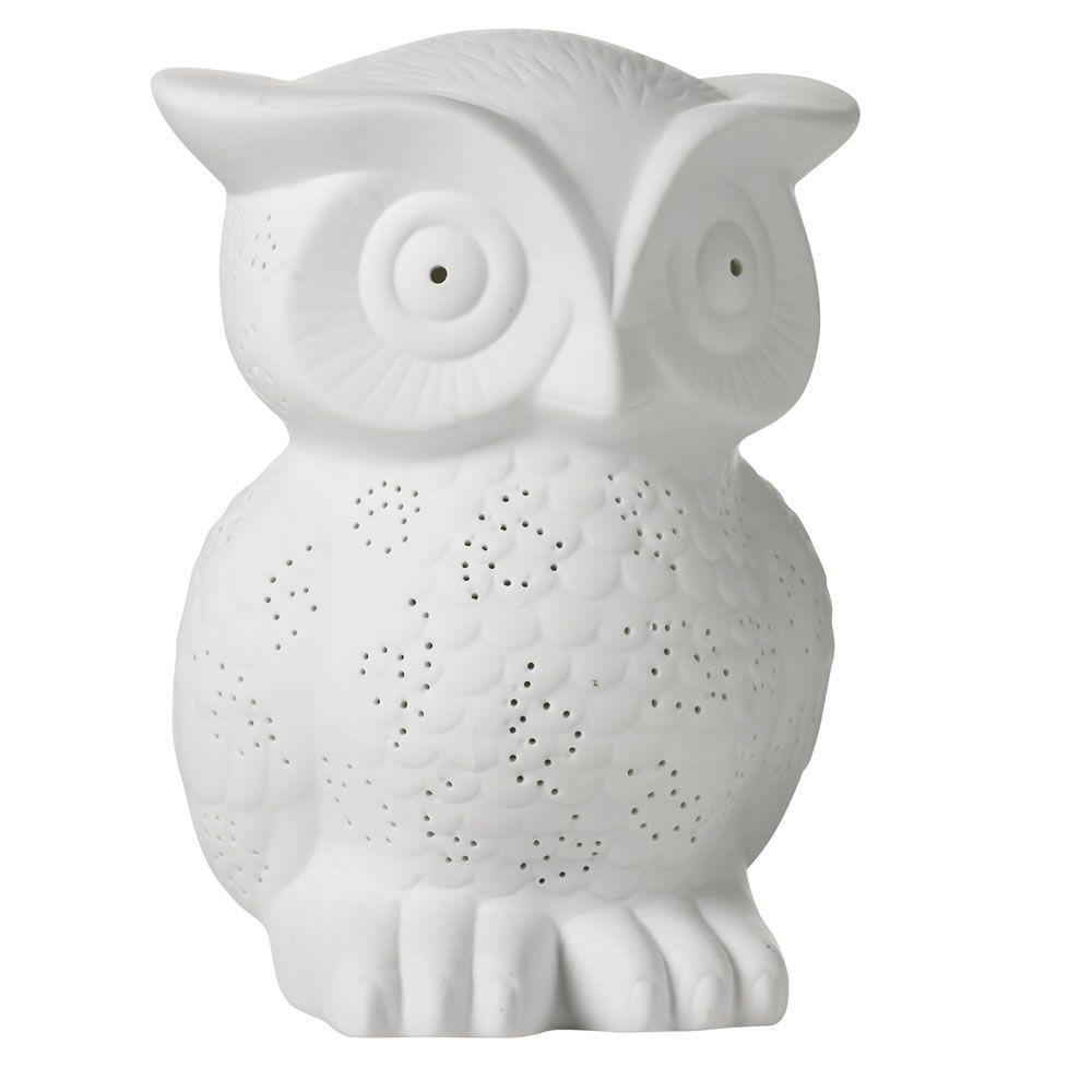 Wilko Ceramic Owl Lamp White