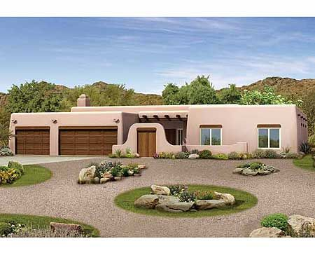 plan 81387w pueblo style ranch home plan - South West Adobe Home Plans