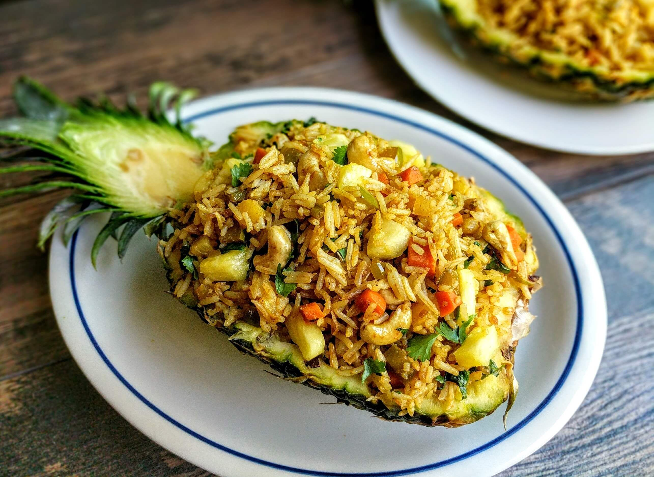 Pineapple fried rice recipe thai veg fried rice recipe indian pineapple fried rice recipe is inspired from thai cuisine this exotic sweet salty dish forumfinder Image collections