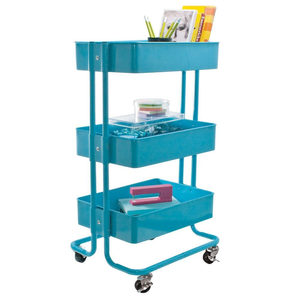 Rolling Organizer Cart Blue Kitchen Utility Baby Craft Storage Vintage  Raskog
