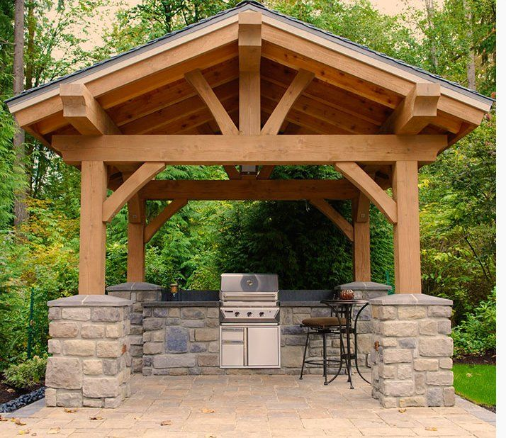 Diy Outdoor Kitchen Frames: Timber Frame Gazebo With Built-in BBQ Grill