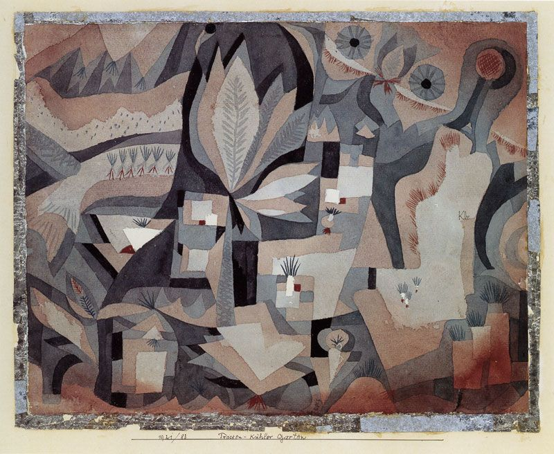 Paul Klee - Dry-Cool Garden 1921 - 24.1 x 30.5 cm Watercolour on paper bordered with silver paper, mounted on card