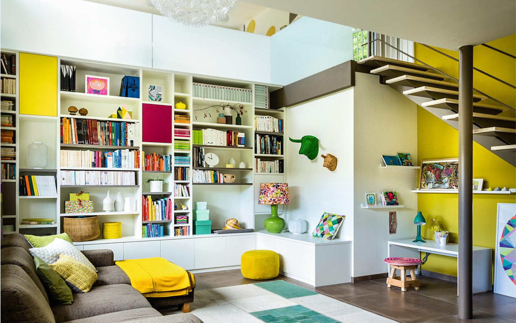 Une Biblioth Que Sur Mesure Haute En Couleur R Alis E Par Camber  # Bibliotheque Sur Mesure Salon