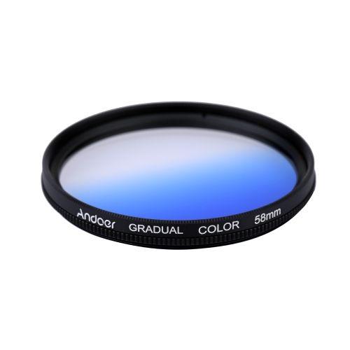 Andoer Professional GND Graduated Blue 58mm Filter Neutral Density For Canon Nikon DSLR