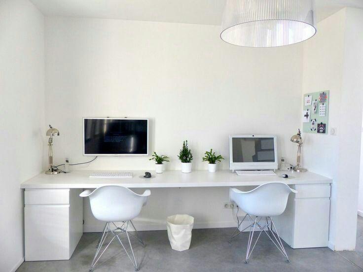 Double bureau blanc home decor