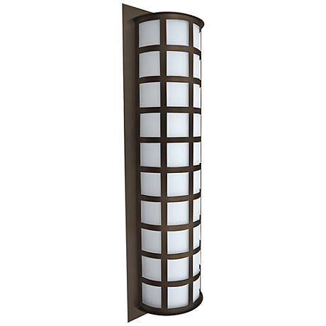 """$495.  Rated for wet locations. Takes three 60-watt or equivalent bulbs (not included). 28"""" high. 8 3/4"""" wide. Extends 4 3/4"""" from the wall.  Besa Scala 28"""" High Bronze Outdoor Wall Light"""