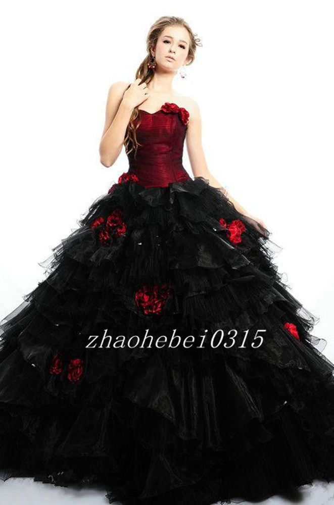 b574506a097 Elegant Black and Red Medieval Gothic Princess Wedding Dresses Bridal Ball  Gowns
